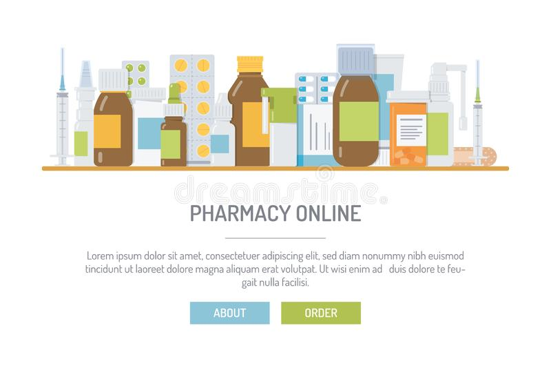 药房网上网横幅 库存例证