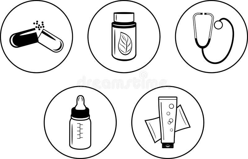 药房设计的五个象 库存例证