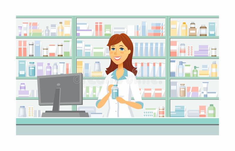 药房-现代传染媒介动画片人字符例证 皇族释放例证