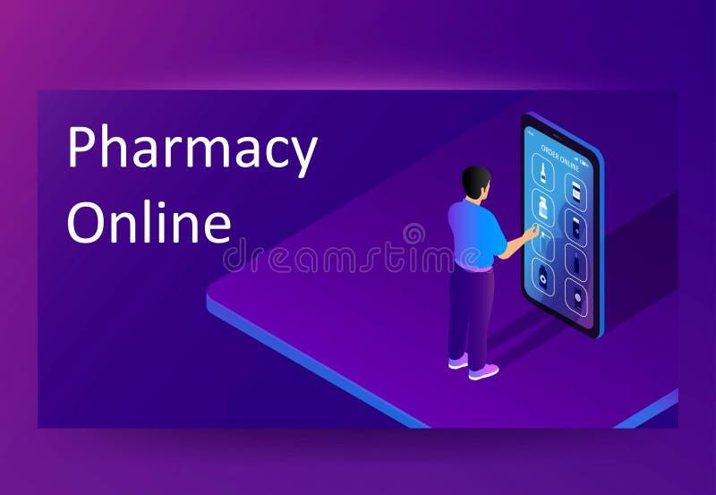 药房/药房网络购物应用程序 传染媒介横幅或海报模板在等量平的动画片 向量例证