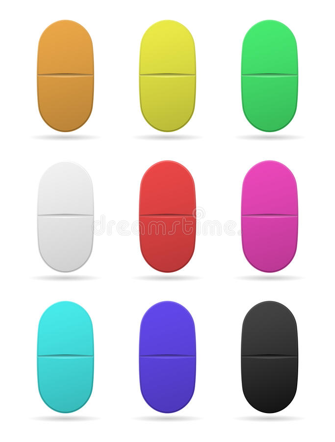 医药片剂 套不同的颜色卵形片剂  在空白背景的查出的对象 向量 库存例证