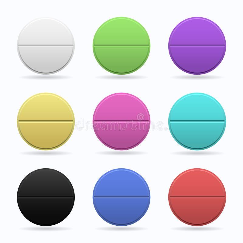 医药片剂 套不同的颜色圆的平的片剂  在空白背景的查出的对象 向量 皇族释放例证