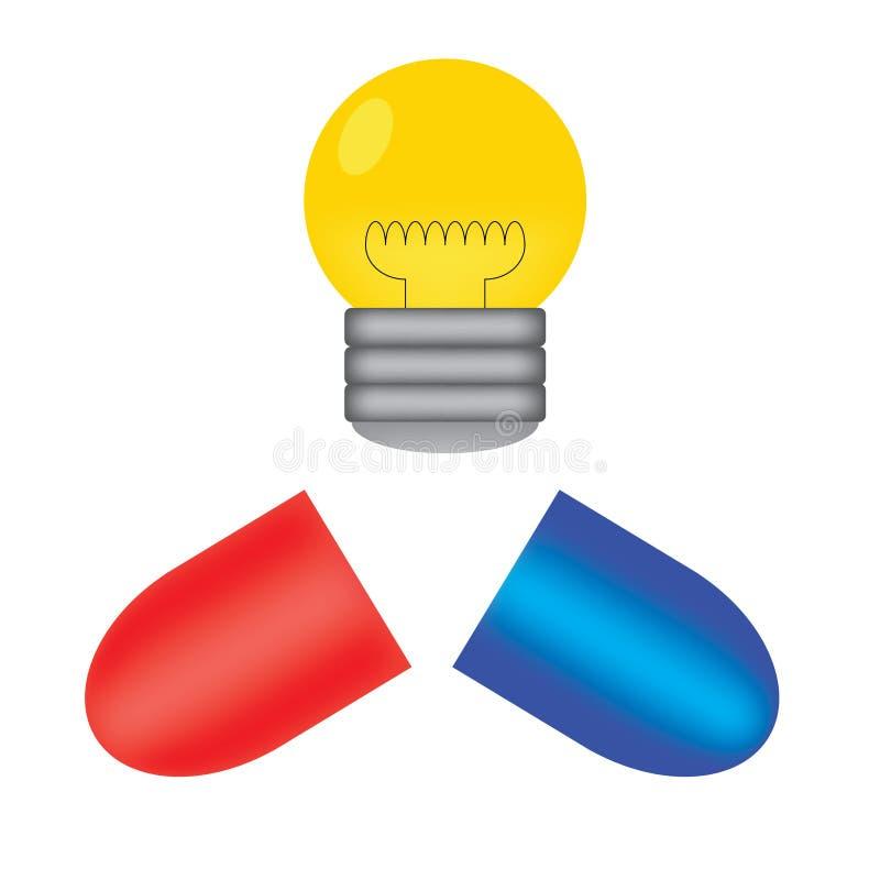 药片和电灯泡 免版税库存图片