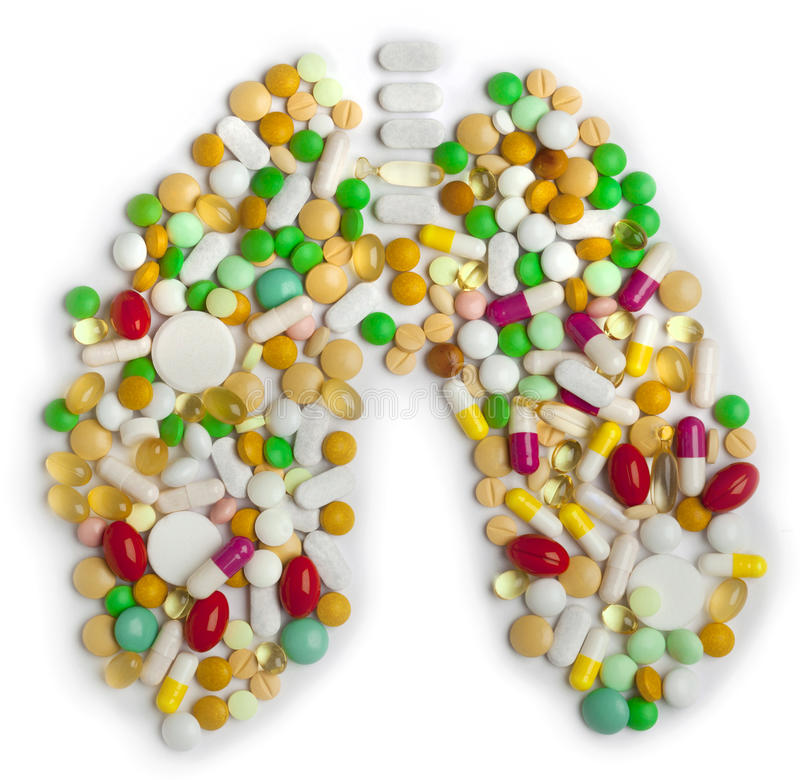 药片和胶囊的肺 库存照片
