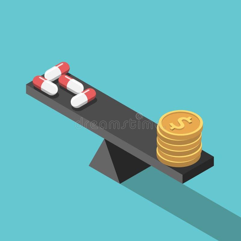 药片和金钱平衡 皇族释放例证