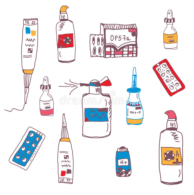 药片和医疗瓶乱画 向量例证