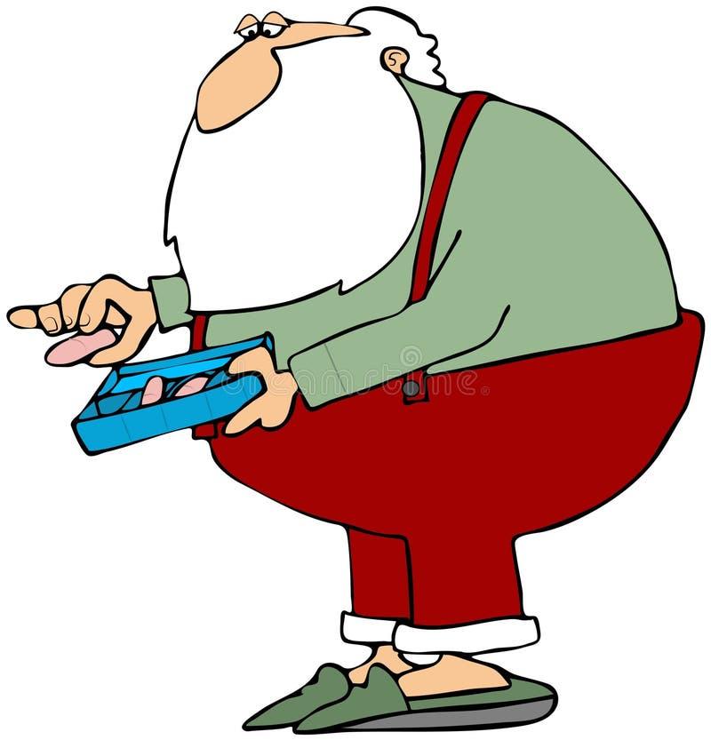 药片圣诞老人采取 皇族释放例证