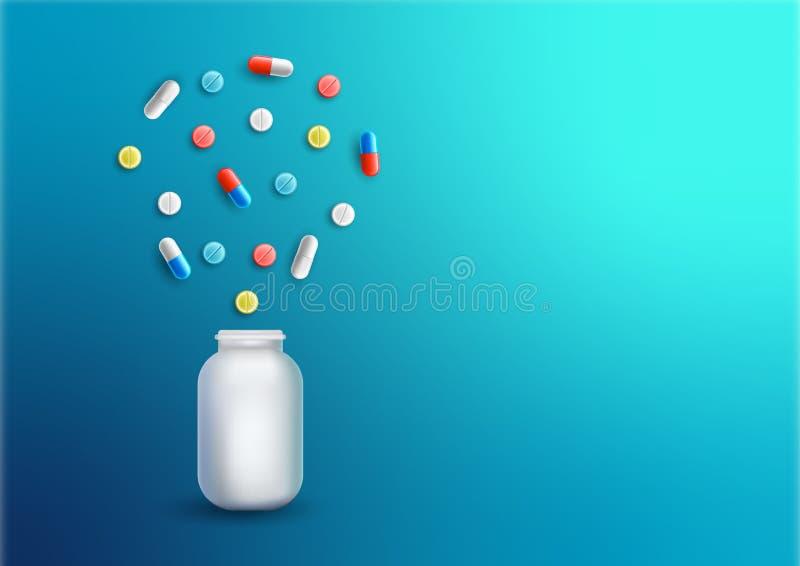 药片堆或片剂压缩在蓝色背景的塑料药物瓶 传染媒介现实例证 库存例证