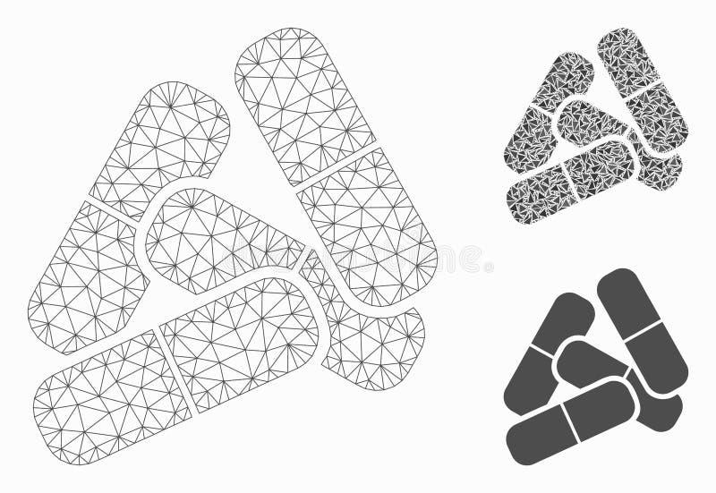 药片导航网状网络模型和三角马赛克象 库存例证