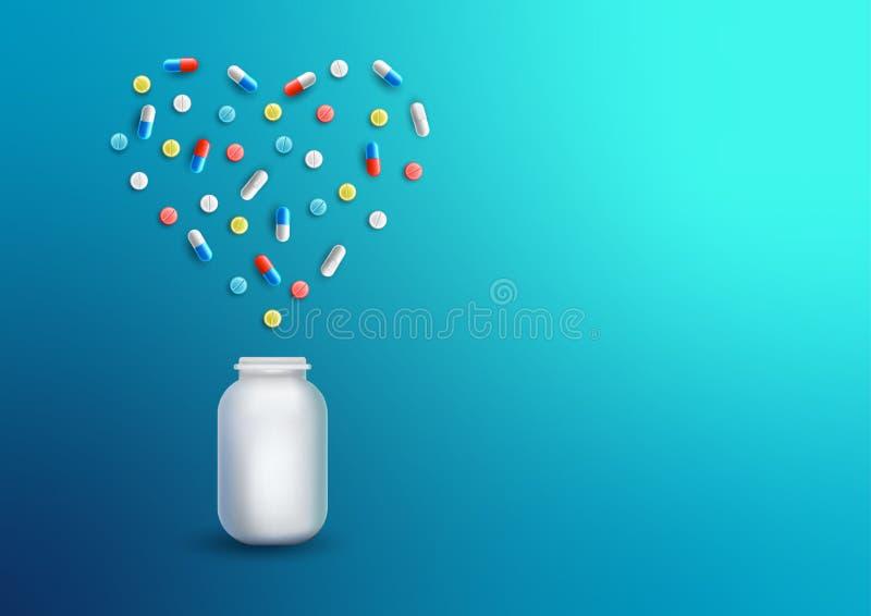 药片片剂压缩塑料药物以在蓝色背景的心脏瓶的形式 传染媒介现实例证 向量例证