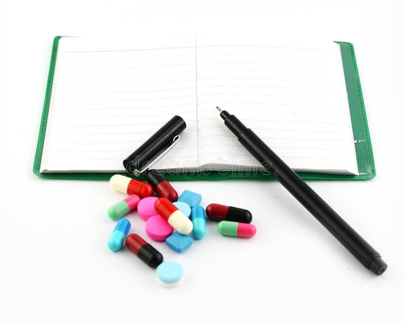 药片的笔记 库存图片