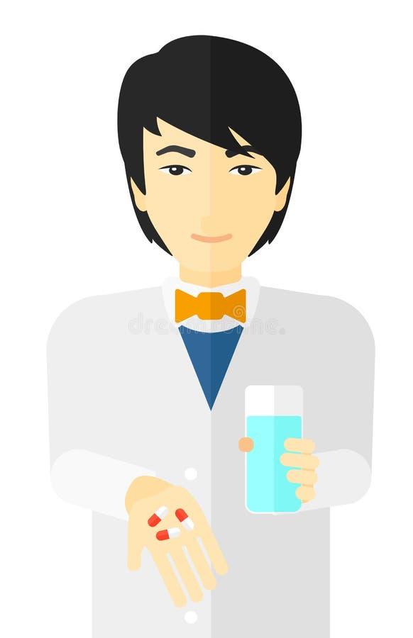 给药片的药剂师 向量例证