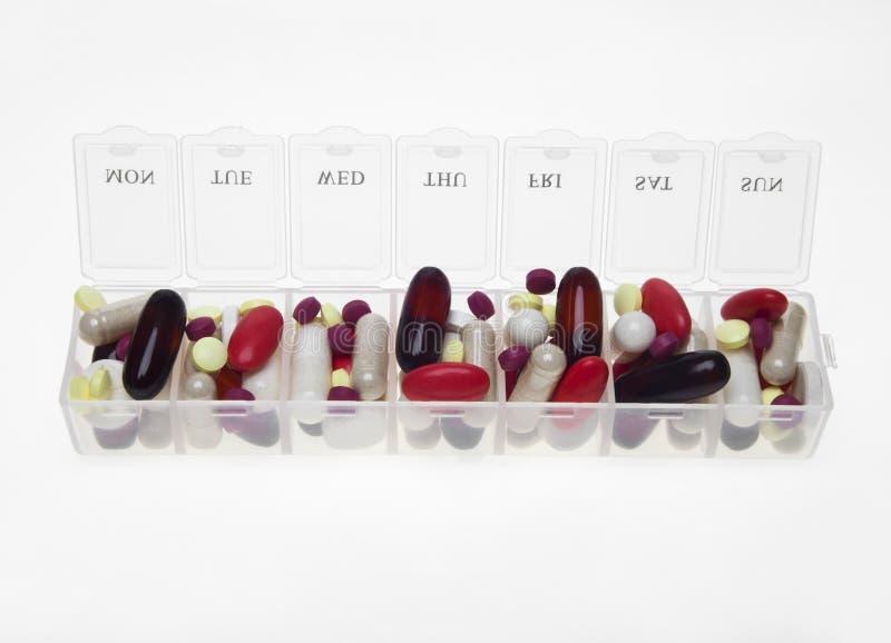 药片箱子以药片品种  免版税库存图片