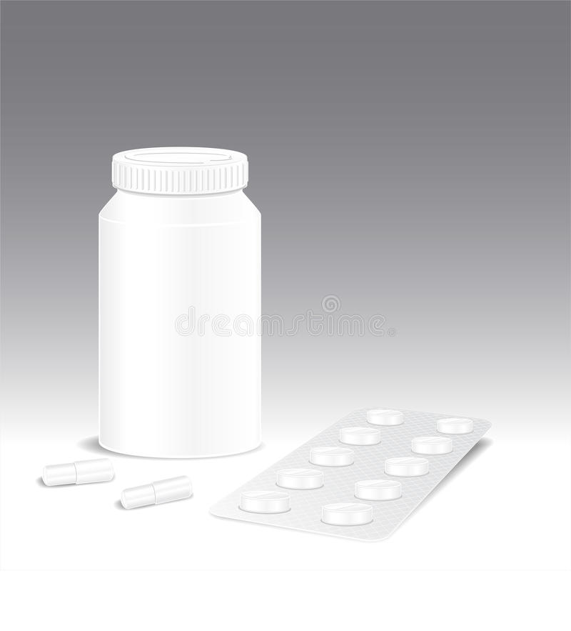 药片配药和药房的模板  皇族释放例证