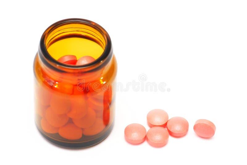 药片,在白色背景,药房,医学的胶囊 免版税图库摄影