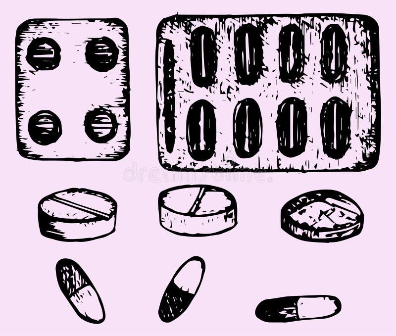 药片,片剂 皇族释放例证