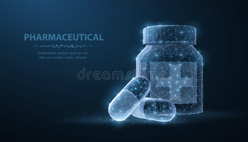 药片 抽象3d多角形wireframe两在与小点和星的瓶蓝色背景附近压缩药片 向量例证