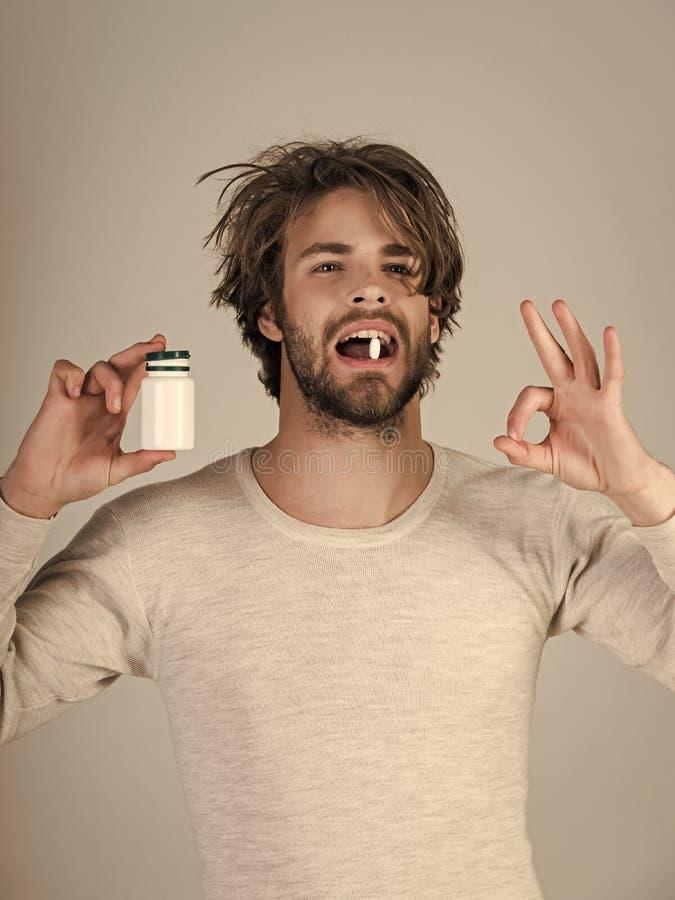 药物和抗抑郁剂,失眠 健康和医学,宿酒 免版税库存图片