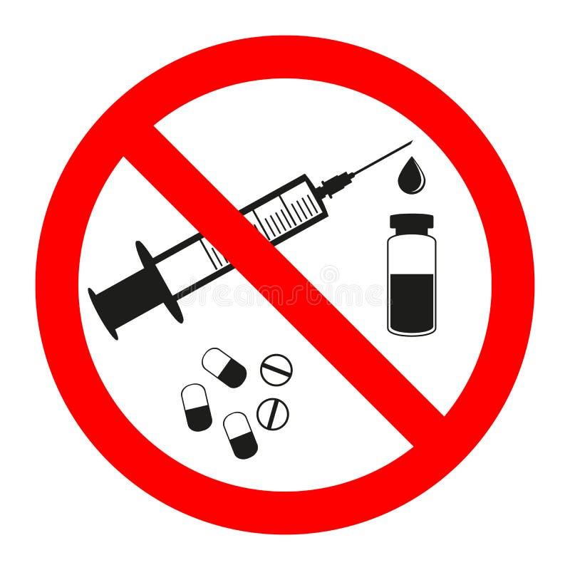 药物和药片禁止标志象 没有注射器贴纸 禁止的射入 向量例证
