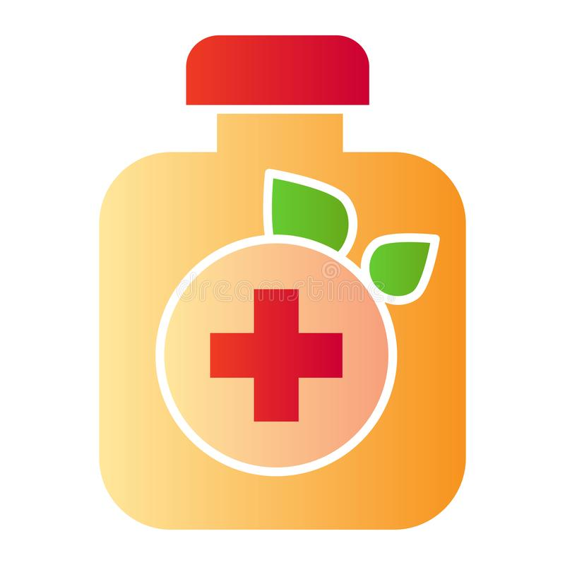 药物装瓶平的象 叶子和胶囊在时髦平的样式的颜色象 自然药片梯度样式设计,被设计 皇族释放例证