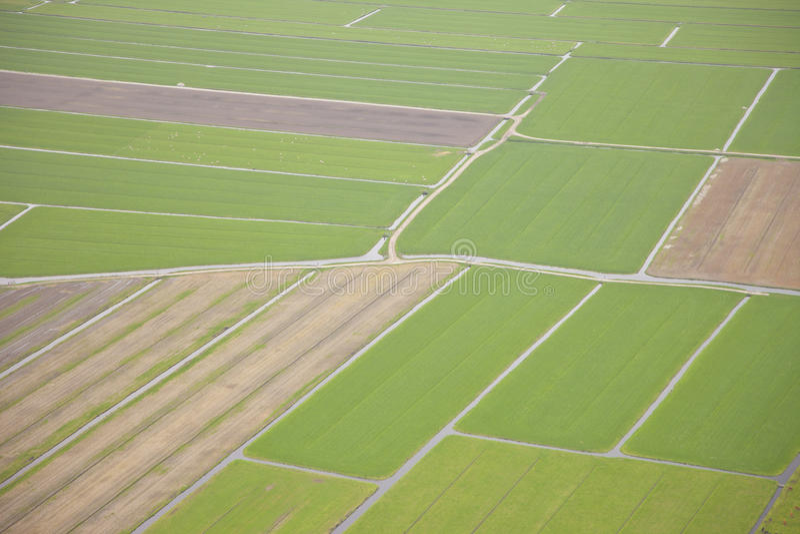 荷兰农厂风景从上面 免版税库存照片