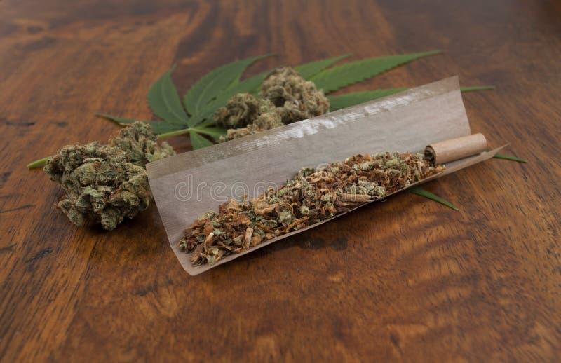 荷兰大麻漂白亚麻纤维grinded用在纸的烟草,准备滚动杂草联接 库存图片