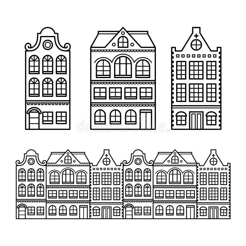 荷兰房子、阿姆斯特丹大厦,荷兰或荷兰象 库存例证