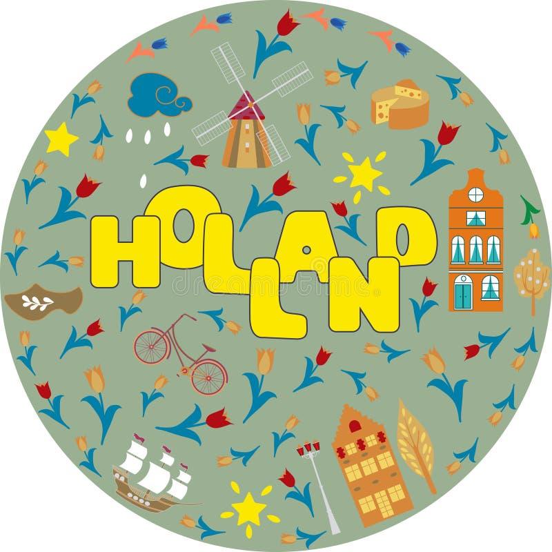 荷兰旅行文化和观光的标志构筑与郁金香木障碍物和风车传染媒介的背景海报 库存例证