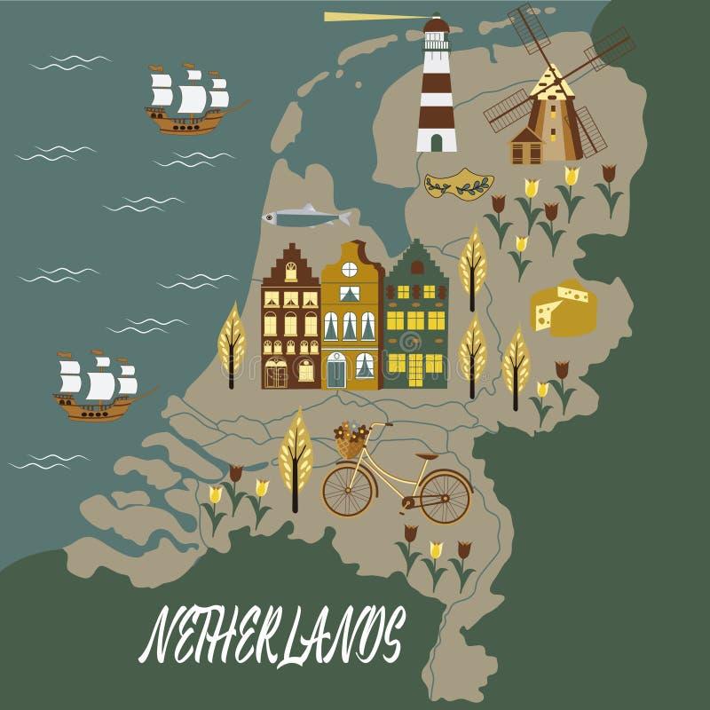 荷兰旅行文化和观光的标志构筑与郁金香木障碍物和风车传染媒介的背景海报 皇族释放例证