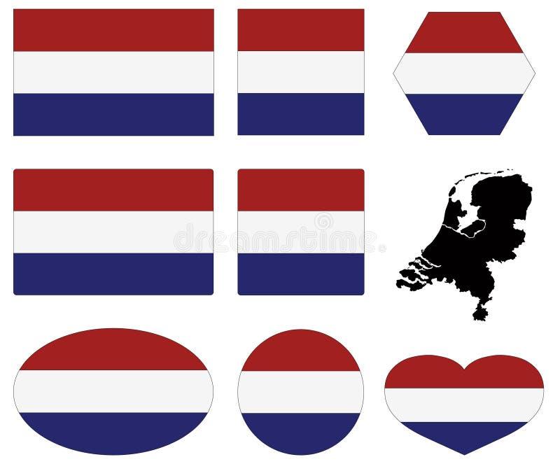 荷兰旗子和地图-国家在西欧 皇族释放例证