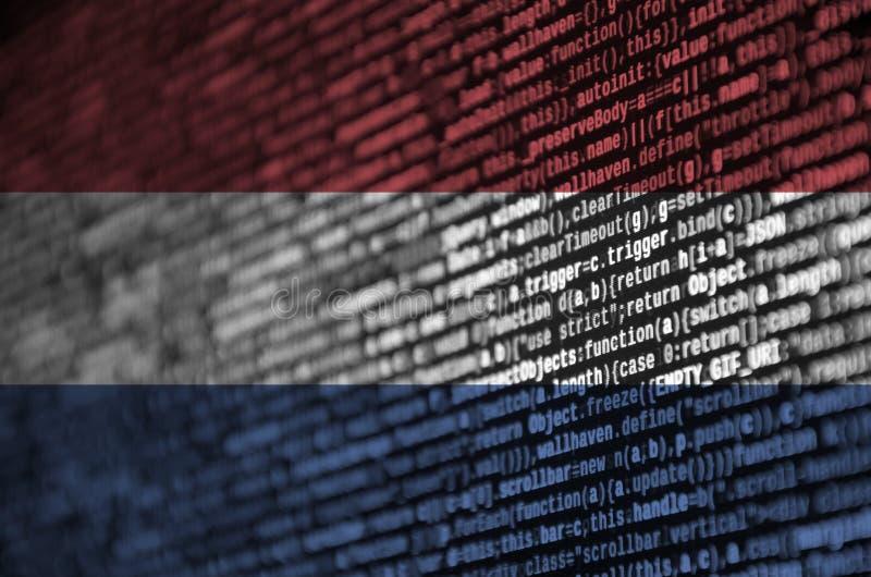 荷兰旗子在有节目代码的屏幕上被描述 现代技术和地点发展的概念 向量例证