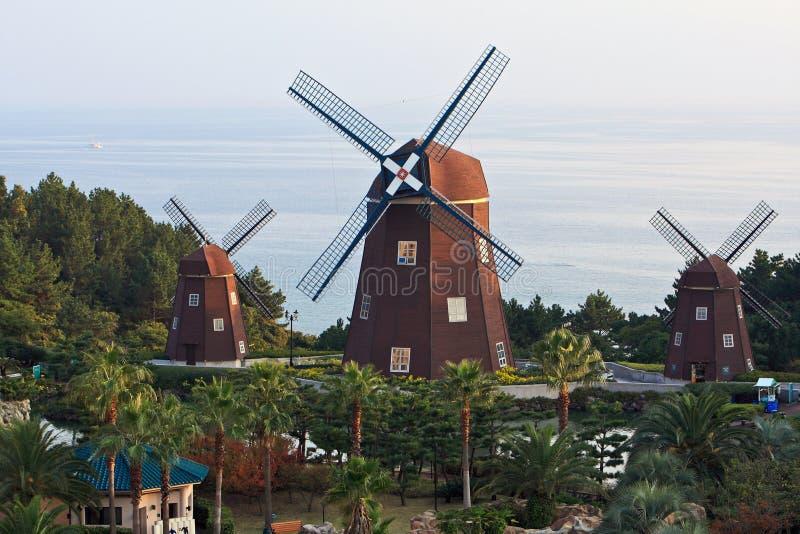 荷兰海岛济州火山的风车 免版税库存图片