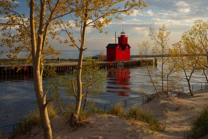 荷兰港口南Pierhead灯塔 库存照片