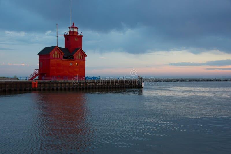 荷兰港口南Pierhead灯塔 免版税库存照片