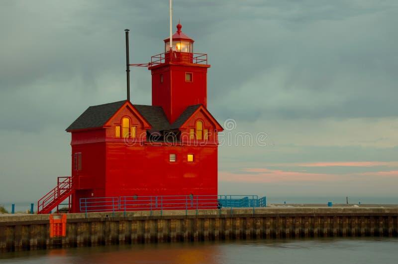 荷兰港口南Pierhead灯塔 库存图片