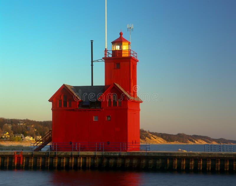 荷兰港口南Pierhead灯塔 免版税图库摄影