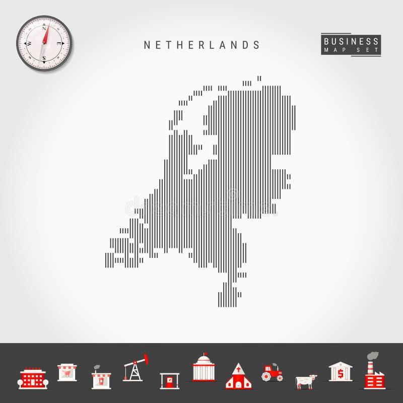 荷兰的传染媒介垂直线地图 荷兰的镶边剪影 现实指南针 r 向量例证