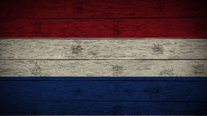 荷兰的旗子在老木委员会绘了 木荷兰旗子 抽象旗子背景 难看的东西荷兰旗子 库存例证