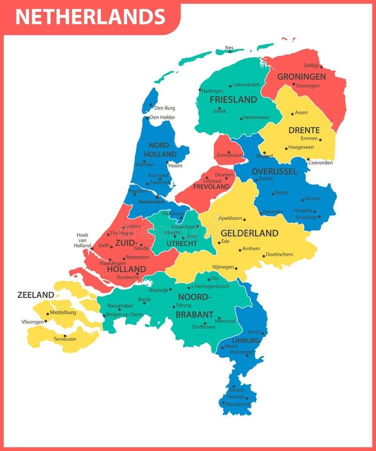 荷兰的详细的地图有地区的或州和城市,资本 管理部门 向量例证