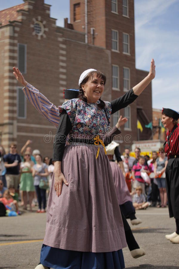 荷兰舞蹈家在荷兰密执安 图库摄影