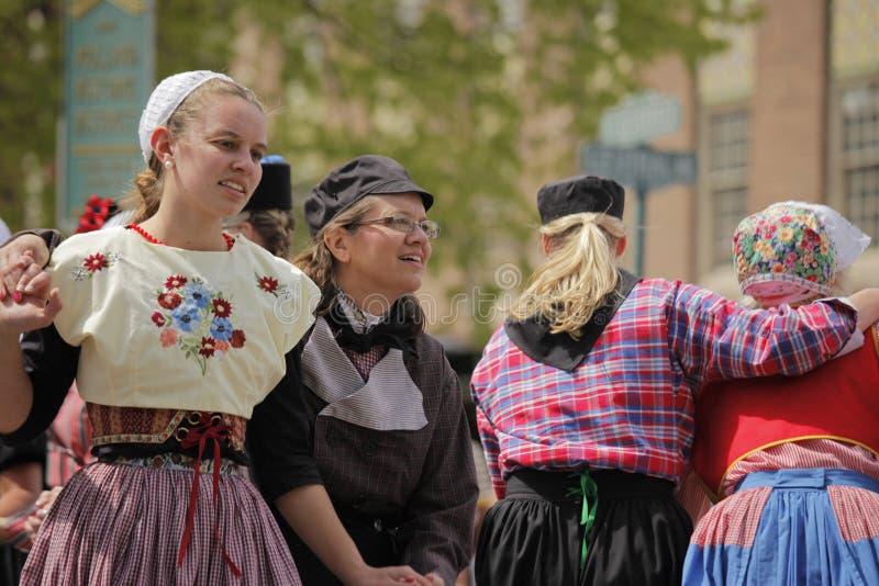 荷兰舞蹈家在荷兰密执安 免版税库存图片