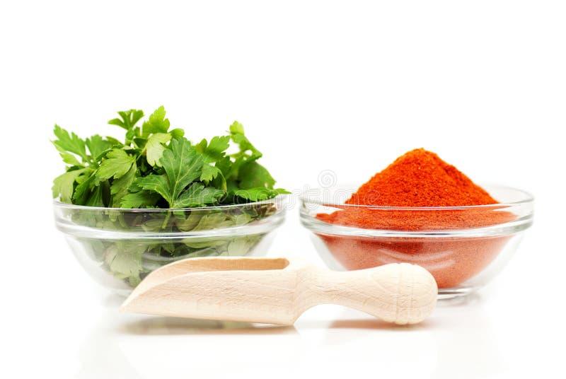 荷兰芹和红色地面胡椒和木匙子 免版税库存图片