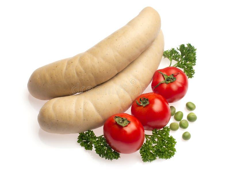 荷兰芹豌豆香肠蕃茄白色 库存照片