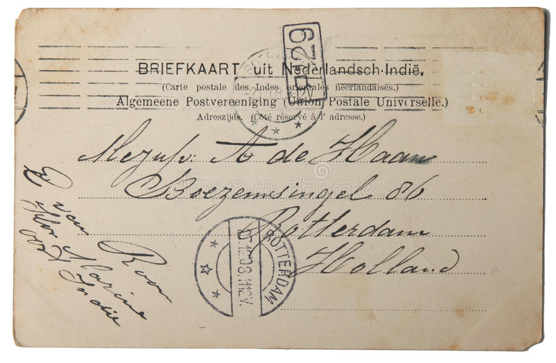 荷兰语东部印度明信片葡萄酒 库存照片