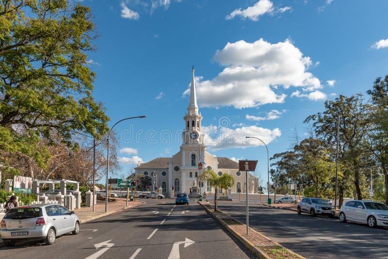 荷兰语被改革的主教堂在西开普省的惠灵顿 免版税库存图片