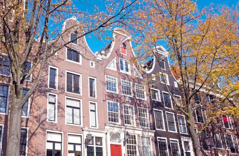 荷兰门面在秋天的阿姆斯特丹荷兰 免版税库存图片