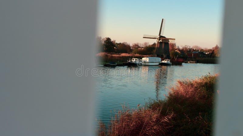 荷兰阿尔克马的风车! 免版税库存图片