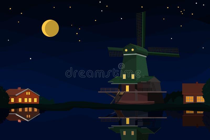 荷兰风景在晚上 库存例证