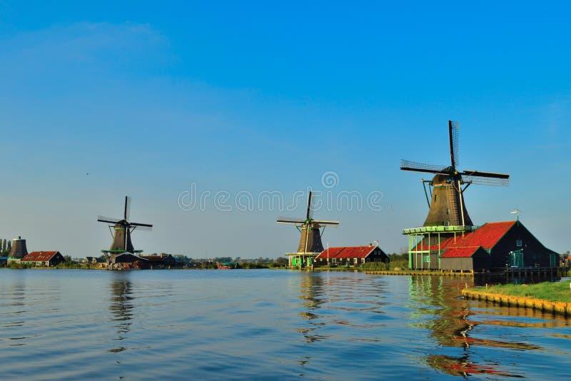 荷兰风车在夏天 库存图片