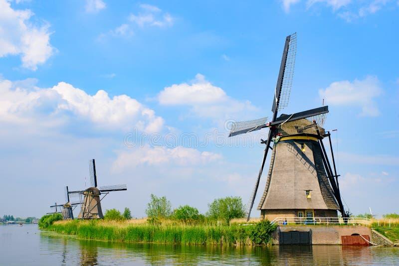荷兰鹿特丹Kinderdijk的风车 图库摄影